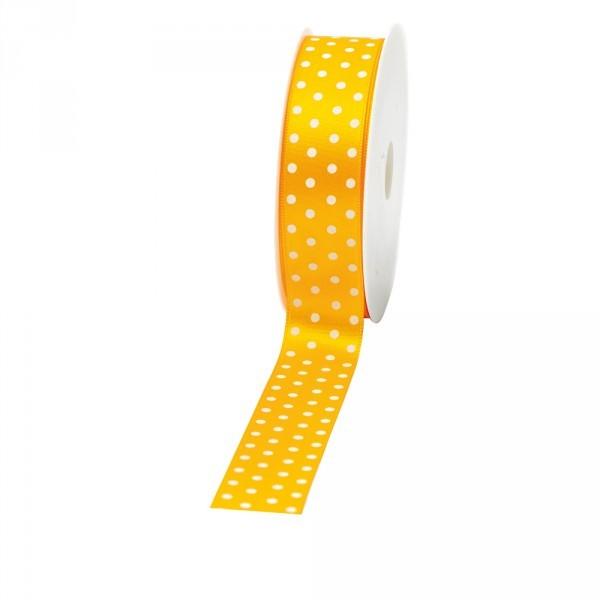 """Geschenkband """"Punkte"""" 25mm 20Meter gelb"""