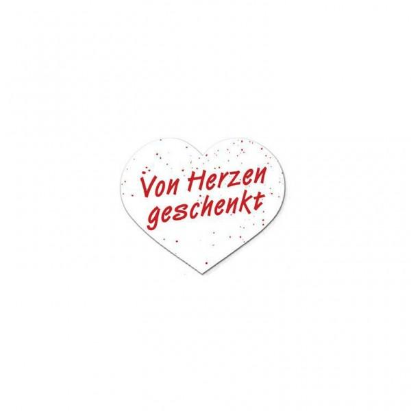 Etikett 38x32mm Herzform Von Herzen geschenkt