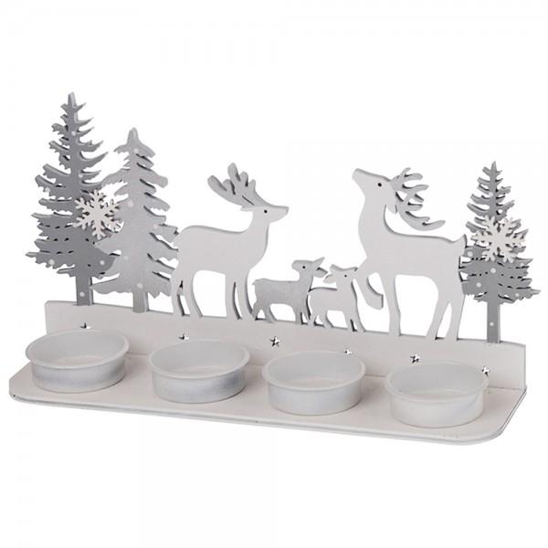 Kerzenhalter für Teelichter 23.5x6.5x11cm Familie Hirsch