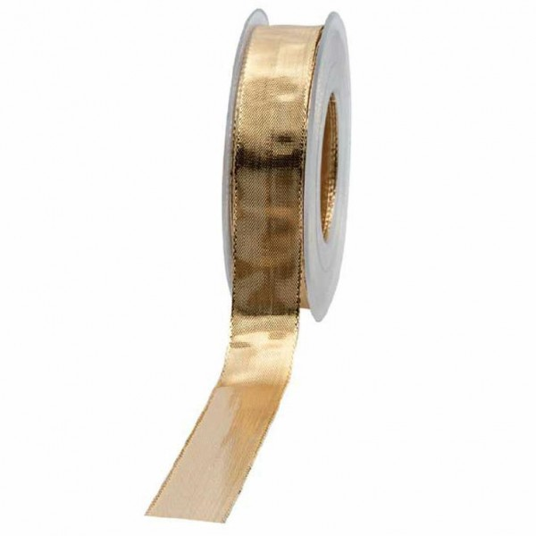 Geschenkband glänzend 25mm 25Meter gold
