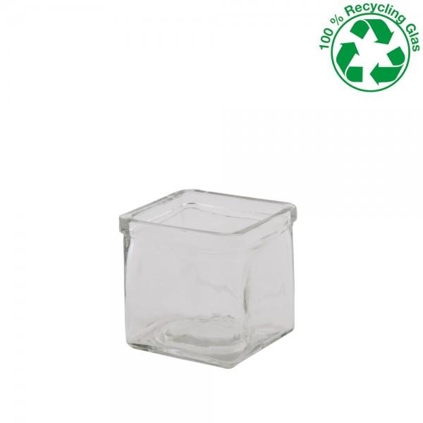 Teelichtglas quadratisch 7,3x7,3x7,5cm