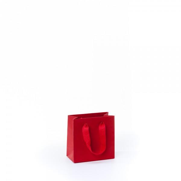 Tragetasche 14x7x14+4cm rot mit Chessband