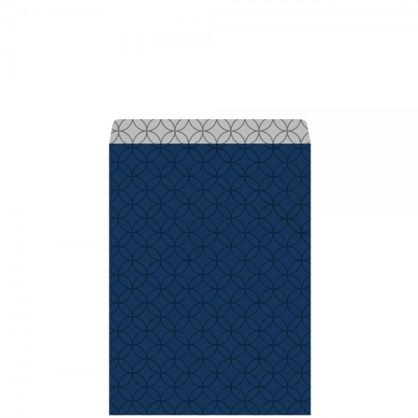 Geschenkflachbeutel Circles blau/silber 11,5x17,1+2,8cm