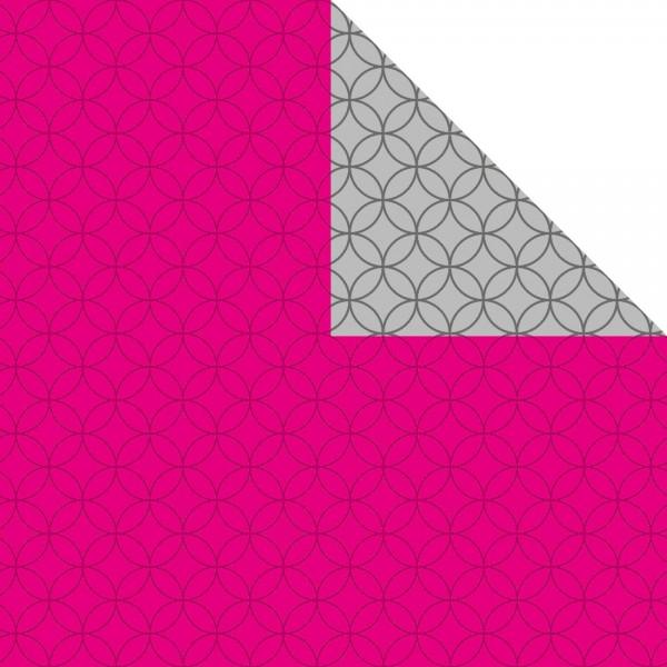 Geschenkpapier Bogen 70x100 cm pink/silber Circles