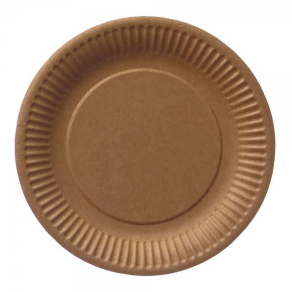 Pappteller rund 23 cm braun