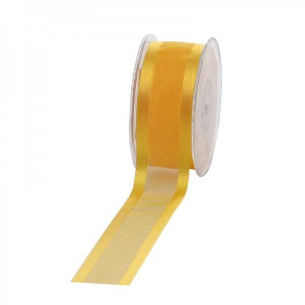 Geschenkband Chiffon Stripes 38mm/25Meter gelb