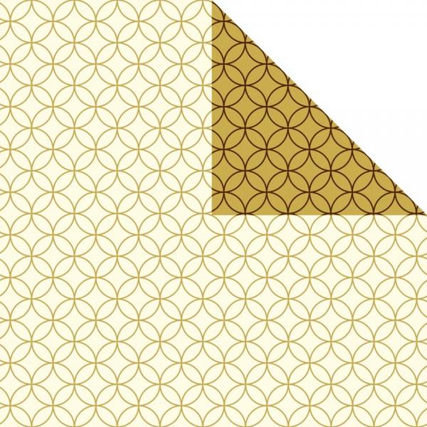 Geschenkpapier Bogen 70x100 cm creme/gold Circles