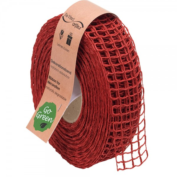 Gitterband aus Leinen Natur Alma 40mm/20Meter Rot