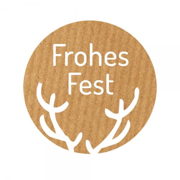 Weihnachts-Etikett Ø 36mm Kraftpapier Frohes Fest
