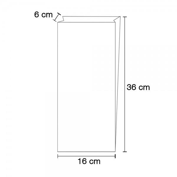 Faltenbeutel N 400 = 16x6x36cm