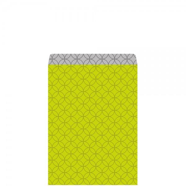 Geschenkflachbeutel Circles grün/silber 11,5x17,1+2,8cm