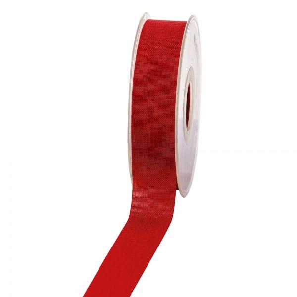 Geschenkband Leinenoptik 25mm 20Meter Rot