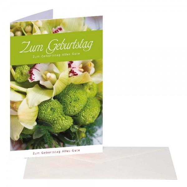 Geburtstagskarte Blumen grün