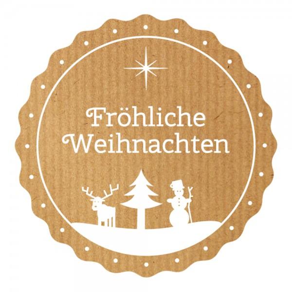 Weihnachts-Etikett Ø 49mm Kraftpapier Fröhliche Weihnacht