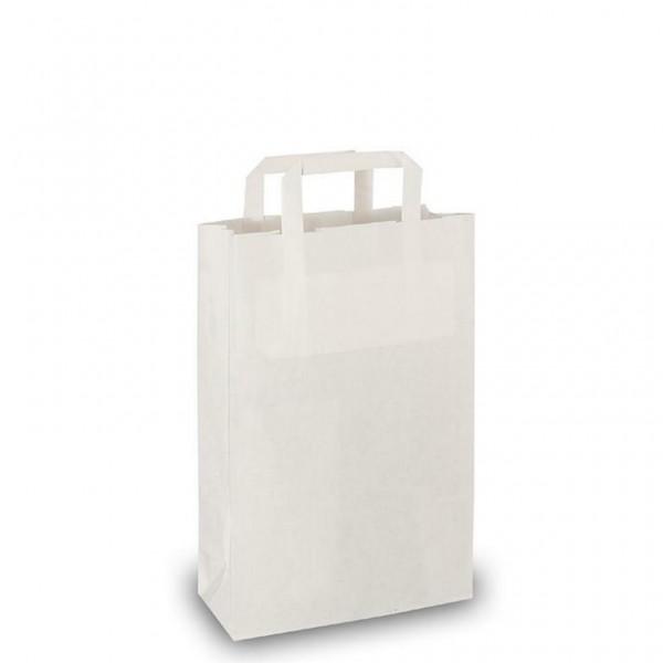 Papier Tragetaschen 22x10x36cm weiß Flachgriff