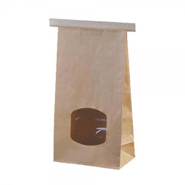 Blockbodenbeutel mit Clipband u. Fenster Größe L