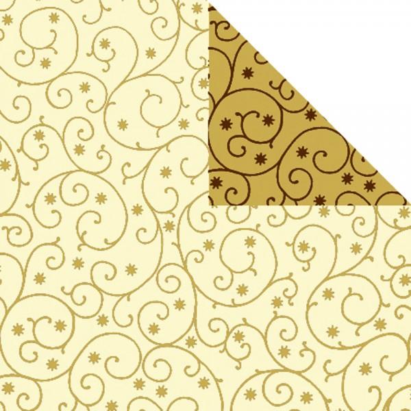 Geschenkpapier Rolle 50cm 50Meter creme/gold mit Dessin