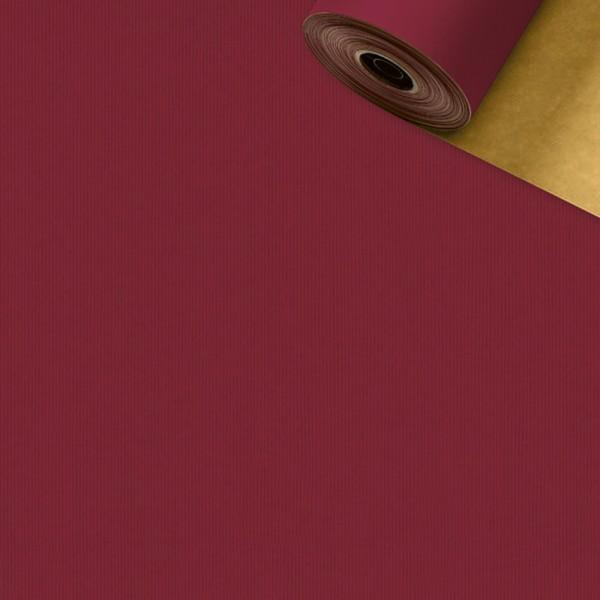 Geschenkpapier Rolle 50cm 250Meter bordeaux/gold
