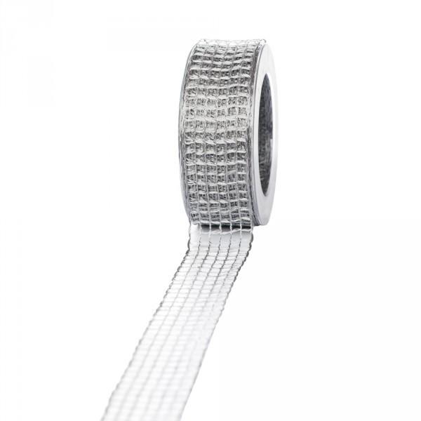 Geschenkband Gitter 40mm/20 Meter grau