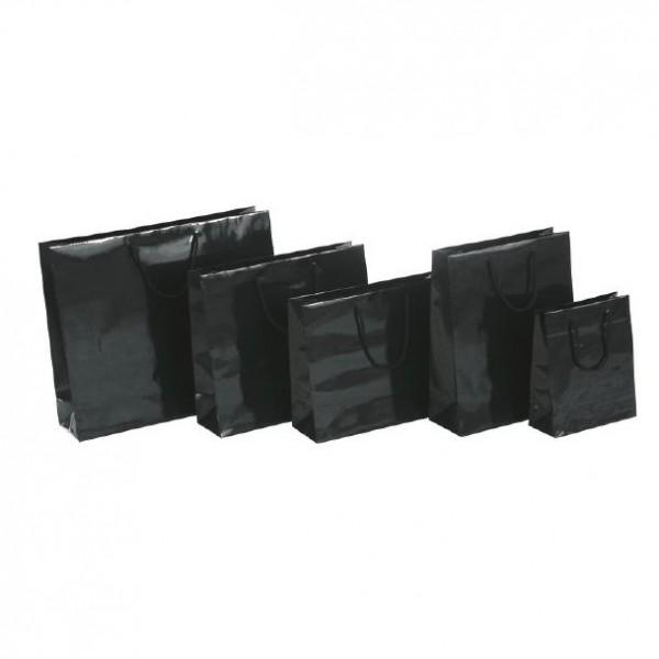 Tragetasche 32x13x40+6cm schwarz mit BW Kordel
