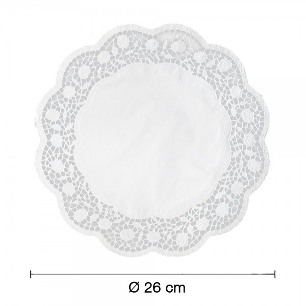 Tortenspitzen weiß rund Ø 26cm