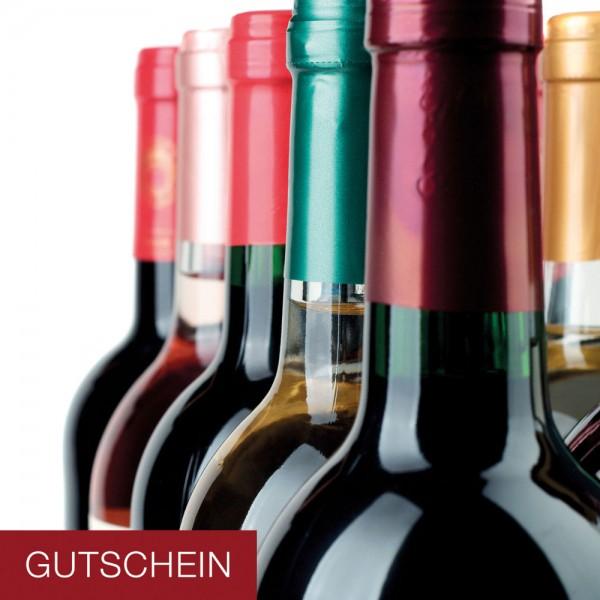Gutschein-Klappkarte Weinflaschen
