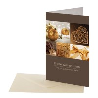 Weihnachtskarte braun/gold