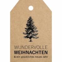 Anhängeetikett Weihnachten 3,5 x 5,2 cm - Wundervolle Weihna