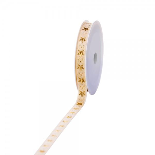 Geschenkband Lux Sterne creme/gold 15mm 20m