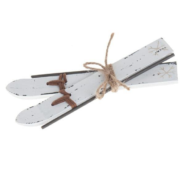 Holzski 15,5x6,5 cm Weiß